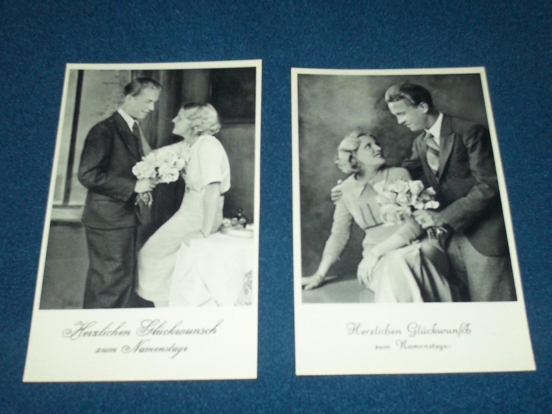 Vintage~Romantic~German~Postcard~Set of 2~ Black/White~Lovely Couple