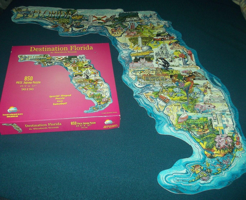 SUNSOUT JIGSAW PUZZLEElizabeth TrostiliDESTINATION FLORIDA - Florida map jigsaw puzzle