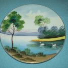 Vintage ANDREA OCCUPIED JAPAN Hand-painted PLATE Swans Lake Trees