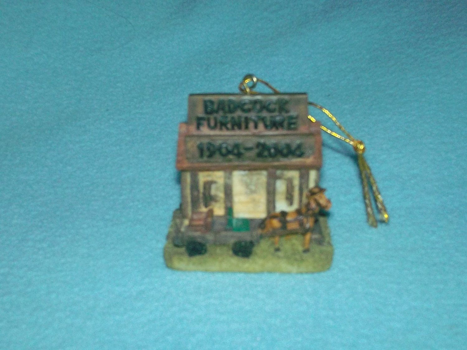 BADCOCK FURNITURE 100th Anniversary ORNAMENT 1904-2004 Horse Wagon ADVERTISING