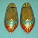 VINTAGE BRASS SHOE ASHTRAY PAIR ~RED AND BLUE ENAMEL~3.75 IN~LOVELY