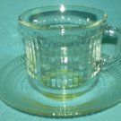 Fortecrisa? CUP & SAUCER SET Clear Glass Cube Block Design MEXICO