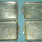 Vintage ALUMINUM Small Tip Trays EVERLAST ? Tab handles Set of 4 DUCKS GEESE CATTAILS