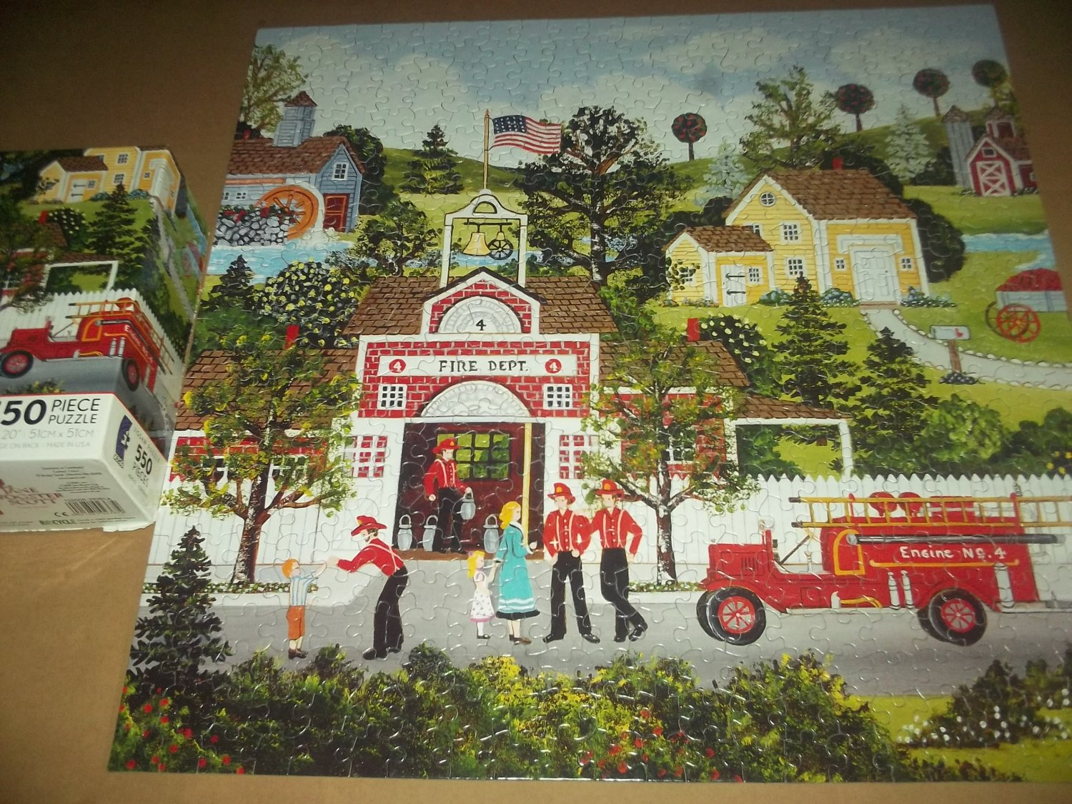CEACO 550 PC Jigsaw Puzzle JANE WOOSTER SCOTT Local Heroes ~COMPLETE~Fire Station Firemen