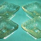 Vintage INDIANA GLASS Pressed Dessert Bowl Set of Four CLEAR Pineapple & Floral DIAMOND DISH