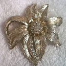 LARGE FLOWER PIN BROOCH JEWELRY ~GOLDTONE AND RHINESTONES~PRETTY