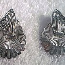 VINTAGE CORO SILVERTONE MODERNIST CLIP-ON EARRINGS