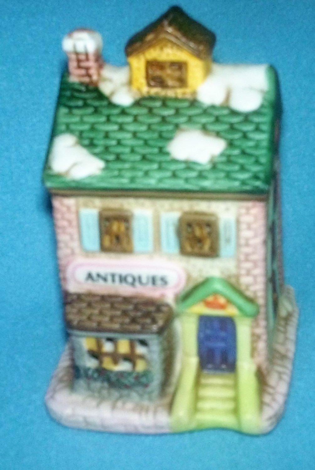 Vintage 1993 HOME TOWN AMERICA Christmas Village ANTIQUES STORE Mini Building