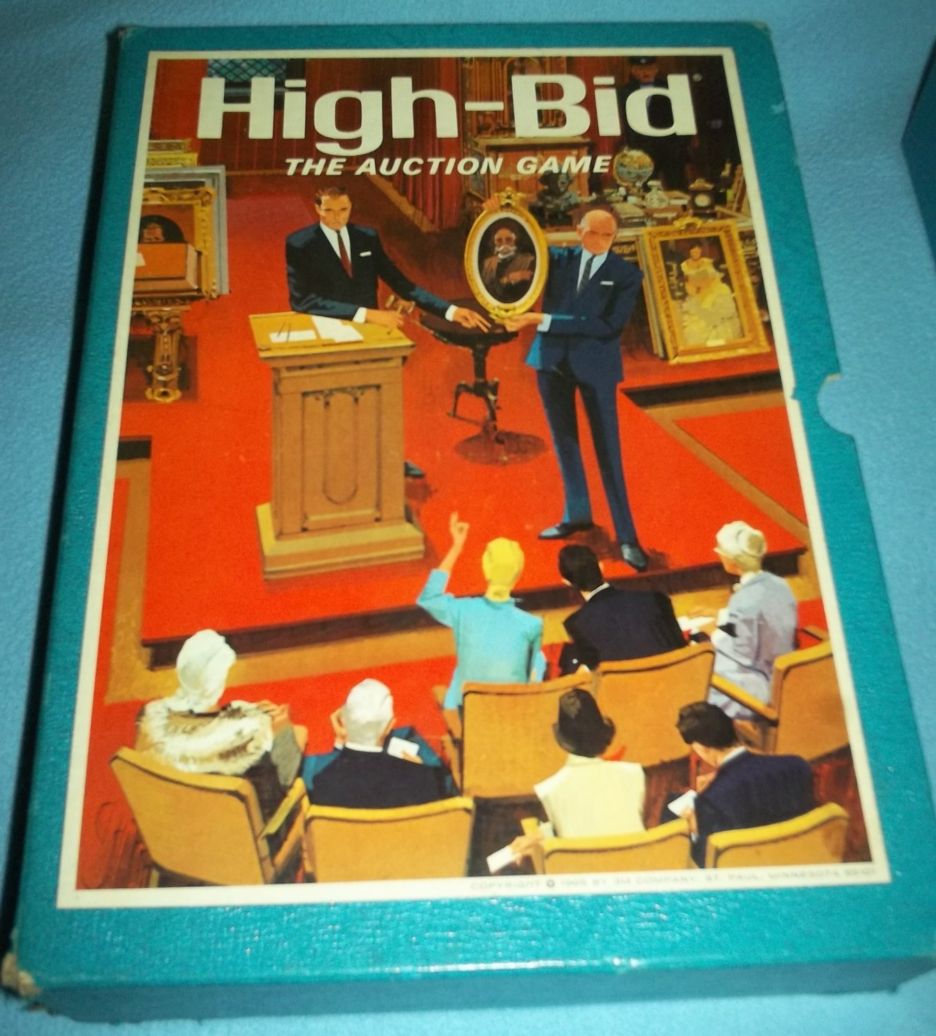 HIGH BID 1965 Vintage Bookshelf BOARD GAME 3M Company AUCTION Art Antiques