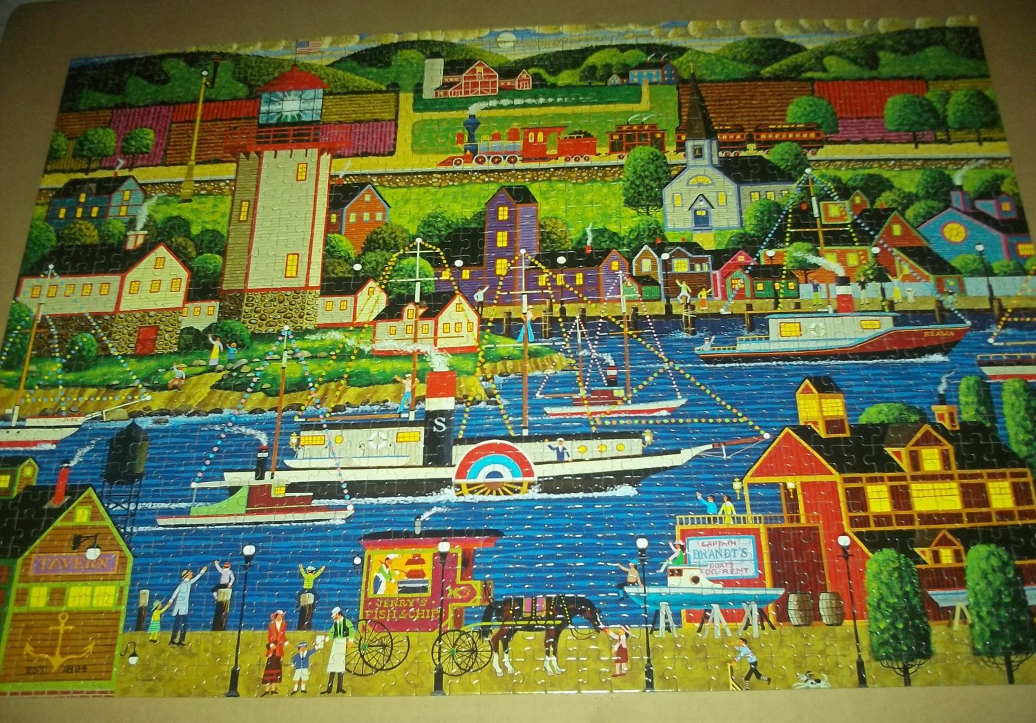 MEGA HOMETOWN COLLECTION JIGSAW PUZZLE HERONIM WYSOCKI Boat Parade COMPLETE Waterfront