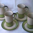 TALL DEMITASSE COFFEE CHOCOLATE SET ~4 CUPS~4 SAUCERS~JAPAN
