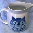 Arabia Finland Blue, White Cat Pitcher~Kitty~Kaj Franck Design