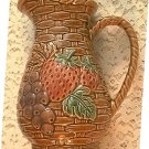 BASKETWEAVE DESIGN PITCHER ~STRAWBERRIES AND GRAPES --JAPAN- VINTAGE