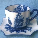 BLUE AND WHITE CUP AND SAUCER~PRETTY~ FLOWERS