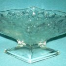 Vintage INDIANA GLASS Pressed Dessert Bowl CLEAR Pineapple & Floral DIAMOND DISH