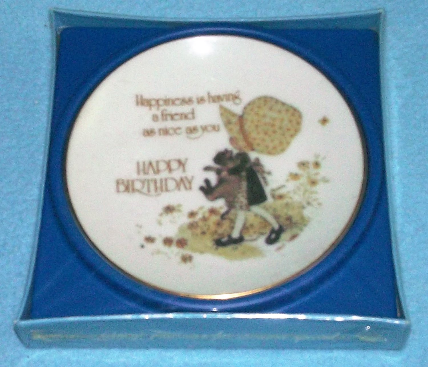 Vintage HOLLY HOBBIE Happy Birthday HAPPINESS IS A FRIEND Plate In Orig. Box 1976 JAPAN