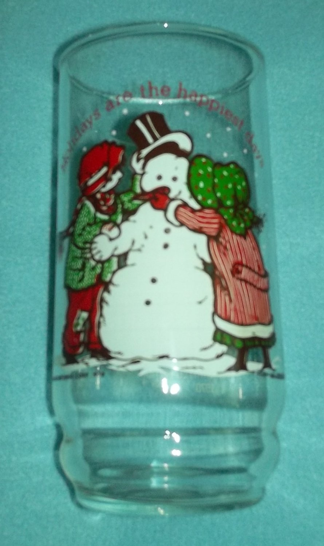 HOLLY HOBBIE COCA COLA CHRISTMAS PROMO ADVERT GLASS Snowman 1978