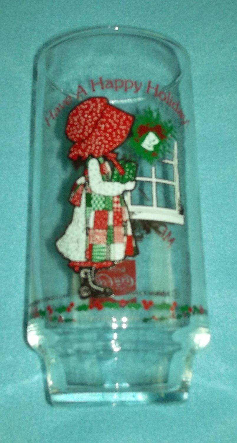 HOLLY HOBBIE COCA COLA CHRISTMAS PROMOTIONAL ADVERTISING GLASS