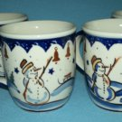 BOLESLAWIEC POLISH POTTERY Snowman Christmas MUG Set of 4 HOLIDAY Poland