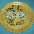 Vintage PUERTO RICO Souvenir BAMBOO Plate MAP Retro SUGAR CANE El Yunque El Morro
