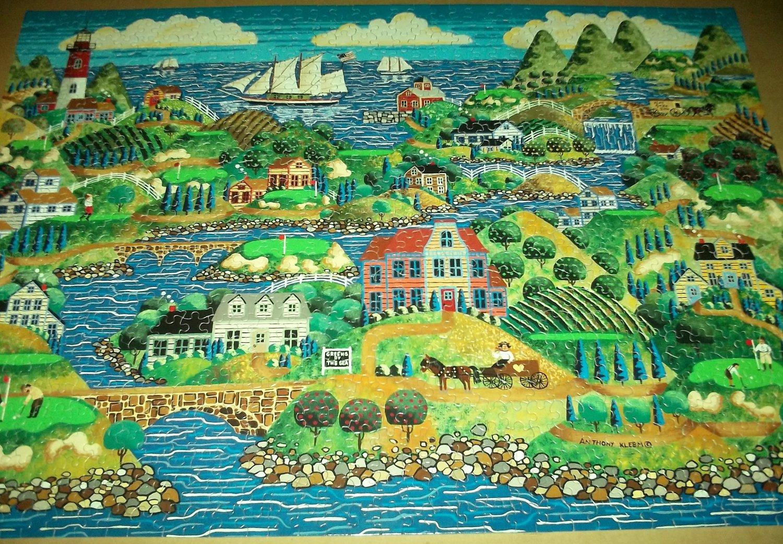 ANTHONY KLEEM Jigsaw Puzzle GREENS BY THE SEA 1000 PC Ships Nostalgic Scene Golfers Golf