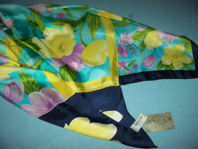 OSCAR DE LA RENTA Designer SCARF NWT Pink Yellow BOLD Flowers 100% SILK