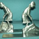 Vintage SEAGULL PEWTER Lady Golfers BOOKENDS Zinn Etain 1992 GOLF Golfing