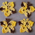 Lot of 4 Crochet Butterflies - Yellow & Brown - vintage rare color