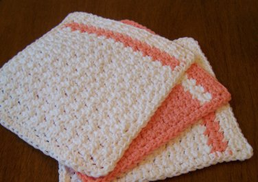 3 Crochet Cotton Dishcloth/Washcloth - Peach & White - Made in USA