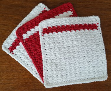 3 Crochet Cotton Dishcloth/Washcloth - Red & White - Made in USA