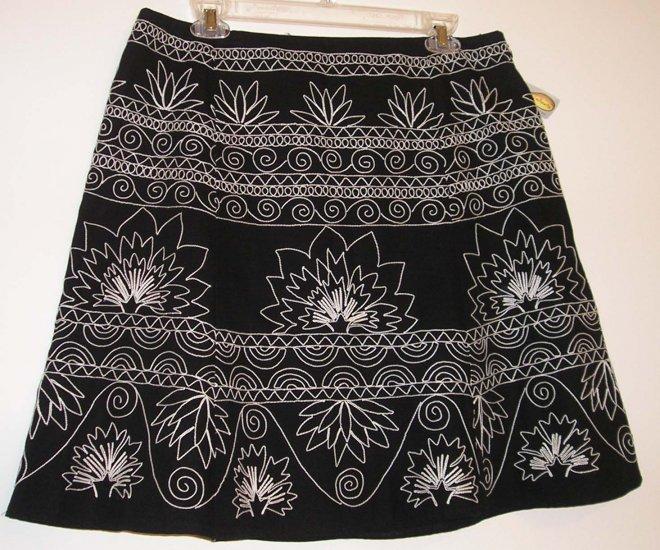 NEW $108 TALBOTS Womens Skirt 10P 10 Petite Black White NWT