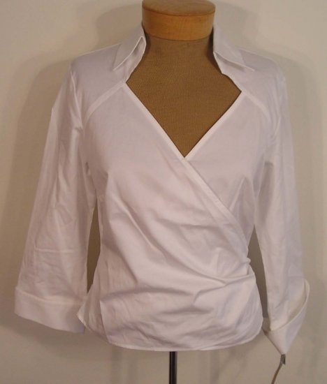 NEW TALBOTS Womens Wrap Top Blouse Shirt 12P 12 Petites White NWT Women