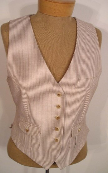NEW WITH TAG $108 TALBOTS Womens Pinstripe Vest 12P 12 Petites Brown Tan NWT