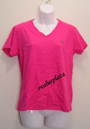 NEW POLO RALPH LAUREN SPORT Womens V Neck Cotton Shirt Top Blouse M Medium NWT