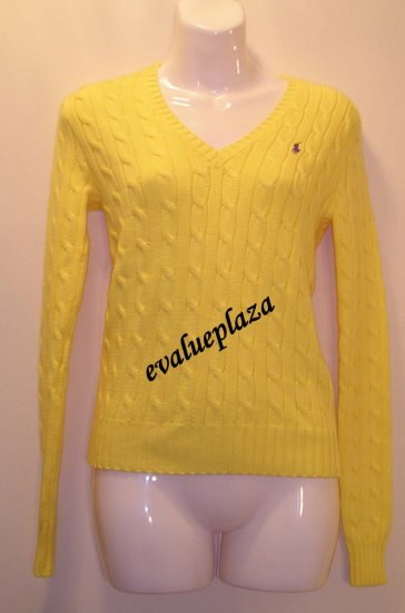 NEW RALPH LAUREN SPORT POLO Womens V Neck Sweater S Small NWT $125 Yellow  Cotton