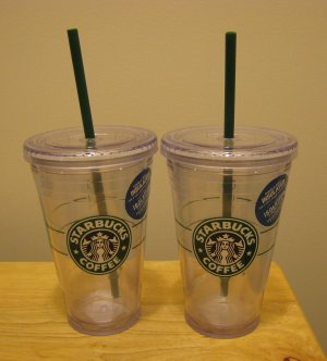 NEW 2 STARBUCKS Clear Insulated Tumbler 16 oz Grande