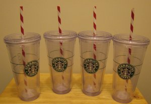 NEW 4 STARBUCKS Clear Tumbler 20 oz Venti Holiday Cups