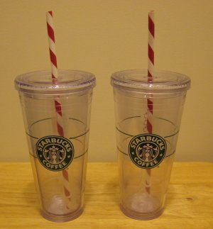 NEW 2 STARBUCKS Clear Tumbler 20 oz Venti Holiday Cups