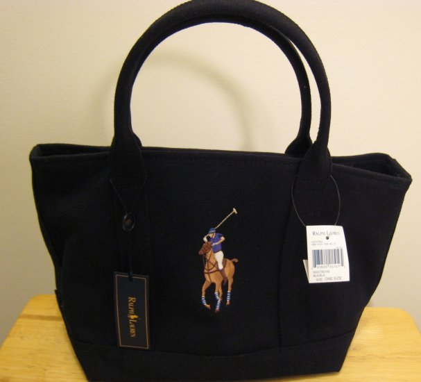 NEW RALPH LAUREN Tote Handbag Bag Big Pony Black NWT