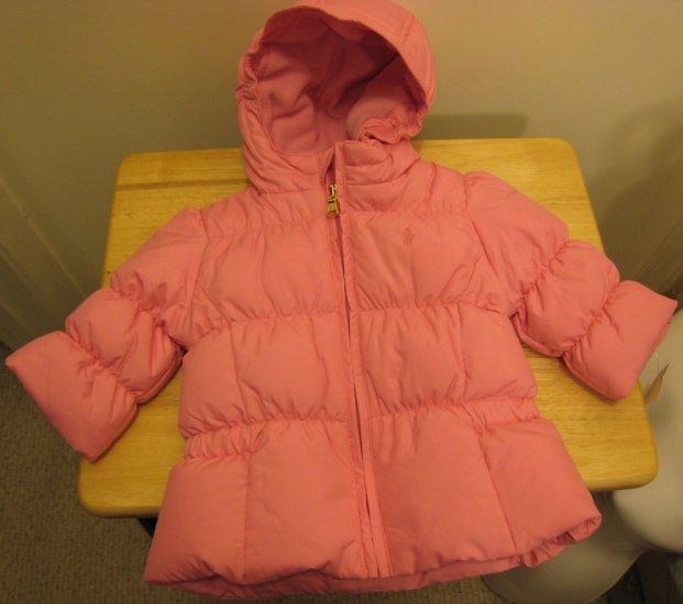 NEW RALPH LAUREN Girls Hooded Down Jacket Coat 9M Pink