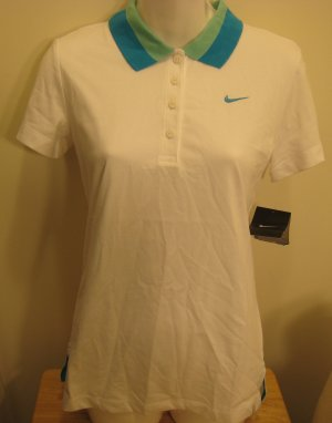 NEW NIKE Dry Fit Womens Tennis Shirt Top S 4 6 NWT White