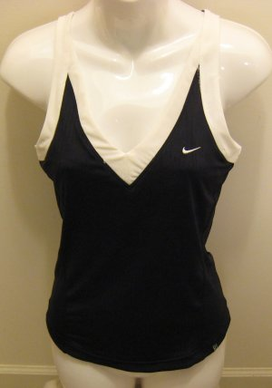 NEW NIKE Dry Fit Womens Tennis Shirt Top XS 0 2 NWT Black White