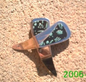 Black and Green frost  flower stamped leather clip-on earrings