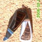 Brown crocodile stamped leather *Zaro 2 dangle earrings
