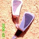 Navy leather *Zaro design clip-on earrings
