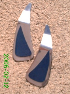 Navy leather *Zaro 2 design dangle earrings