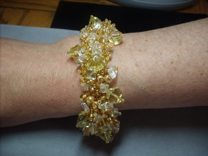 Quartz and Gold Beaded Bracelet BR-5