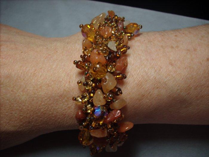 Amber Hued Beaded Bracelet BR-3