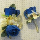 Royal Blue Open Silk Double Rose w/yellow Hydrangea Boutonniere & Corsage Set  008 Prom or Wedding