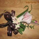 Pink Calla Lily Corsage with Chocolate Ribbon 251Pk